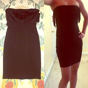 Black strapless mini dress - fringe neckline